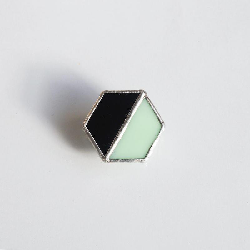 hair accessory hexagon/black×light green