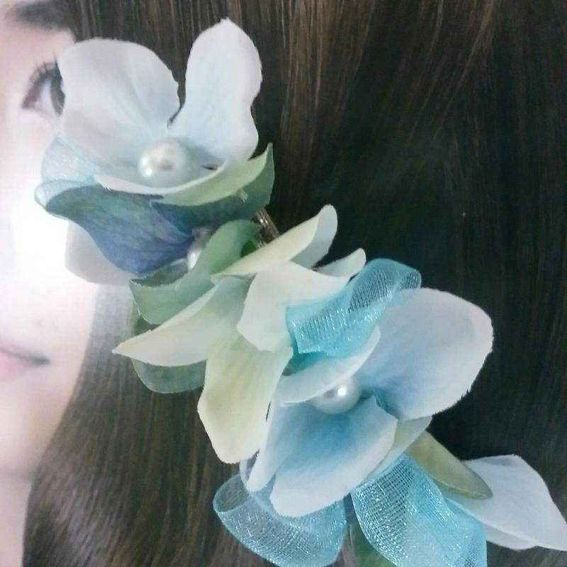 オーガンジーリボンと紫陽花アーティフィシャルフラワーのバレッタ