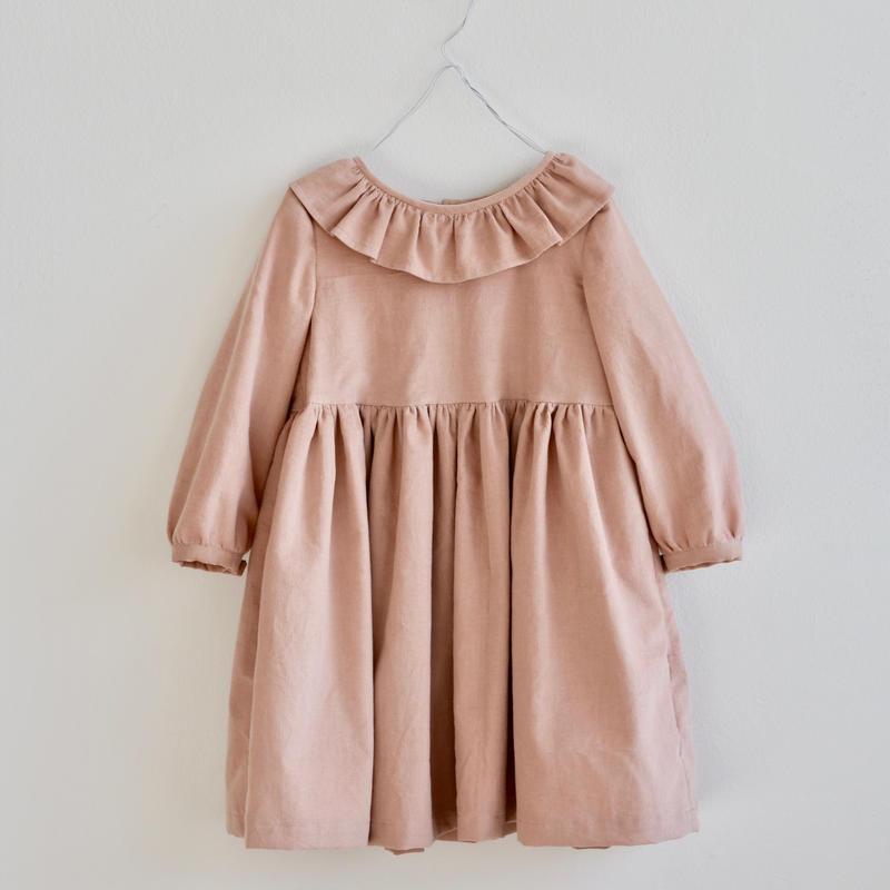D05  フリルカラーワンピース  - コーデュロイ / リネン Size 100/110