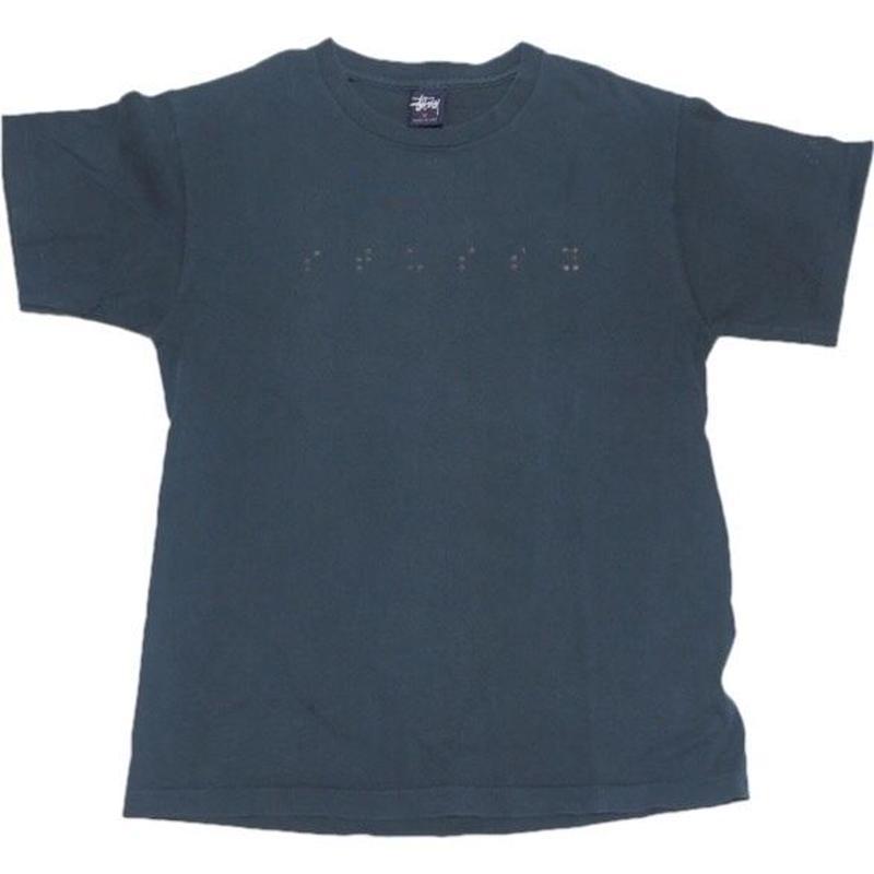 1990's STUSSY t-shirts USA製 レアな点字プリント  表記(M)