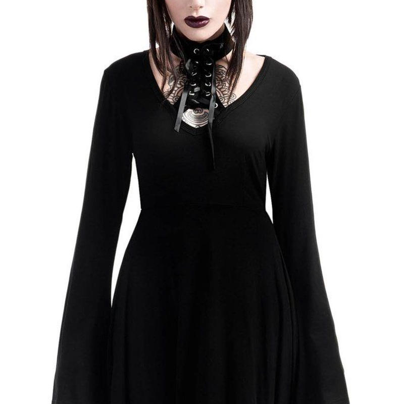 K-DRS-F-2618  Spyda Lace-Me-Up Dress  <BLK>