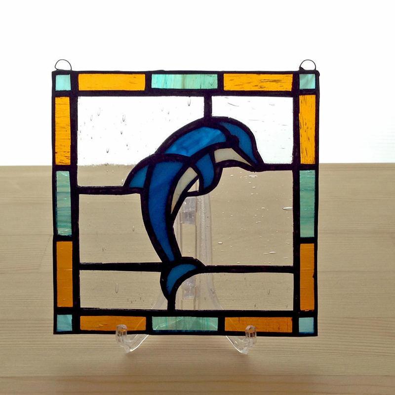 ステンドグラスパネル ドルフィン Sサイズ