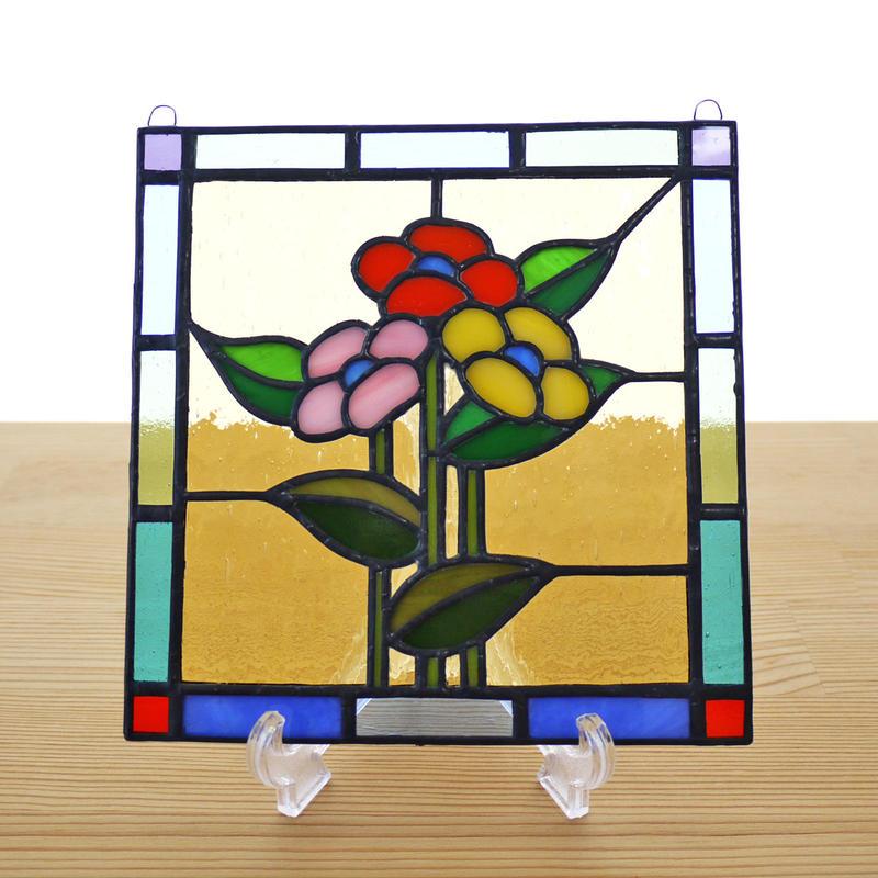 ステンドグラス ミニパネル 3つの花 15cm