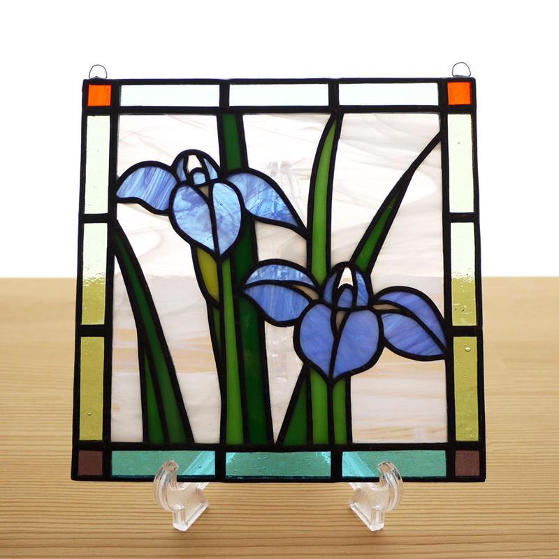 ステンドグラス ミニパネル カキツバタ 15cm
