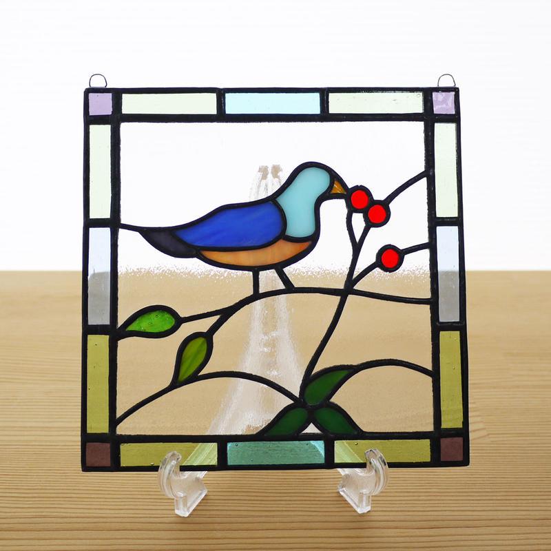 ステンドグラス ミニパネル 小鳥 15cm