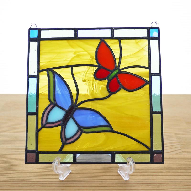 ステンドグラス ミニパネル バタフライ 15cm