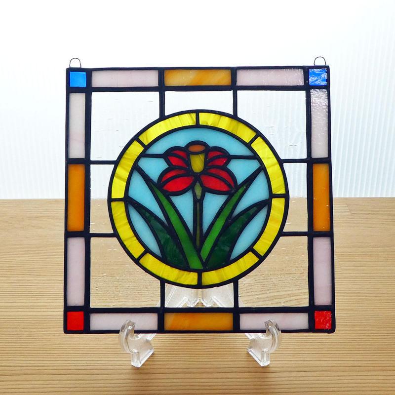 ステンドグラス ミニパネル フラワー・黄サークル 15cm