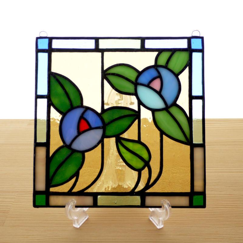 ステンドグラス ミニパネル フラワー・ブルー系 15cm