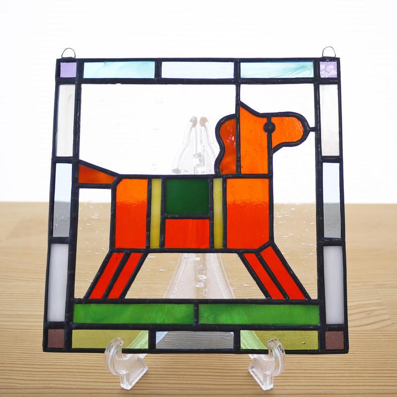 ステンドグラス ミニパネル 馬(d) 15cm