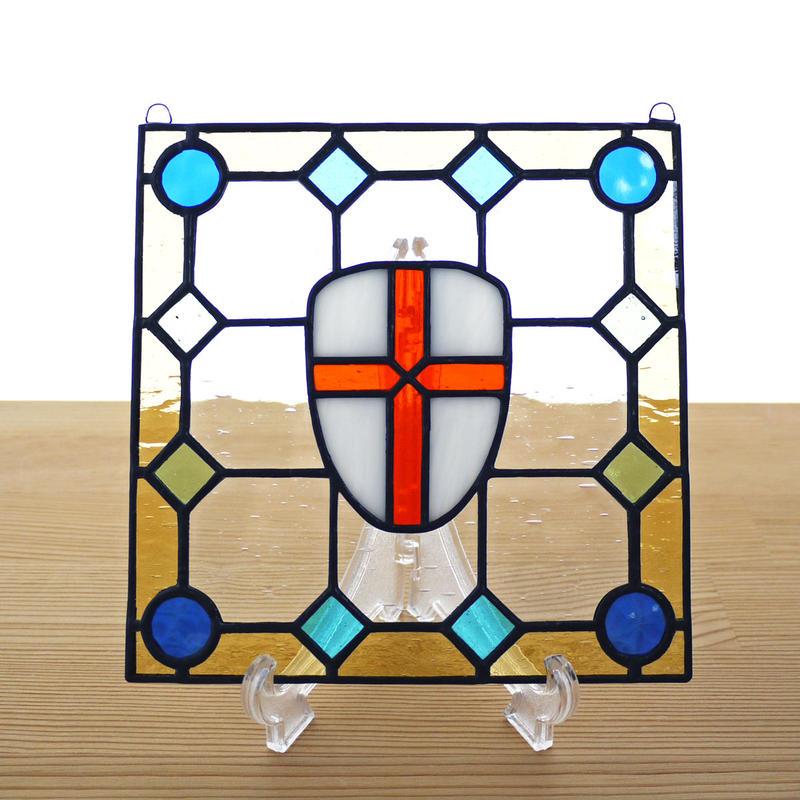 ステンドグラス ミニパネル 盾 15cm