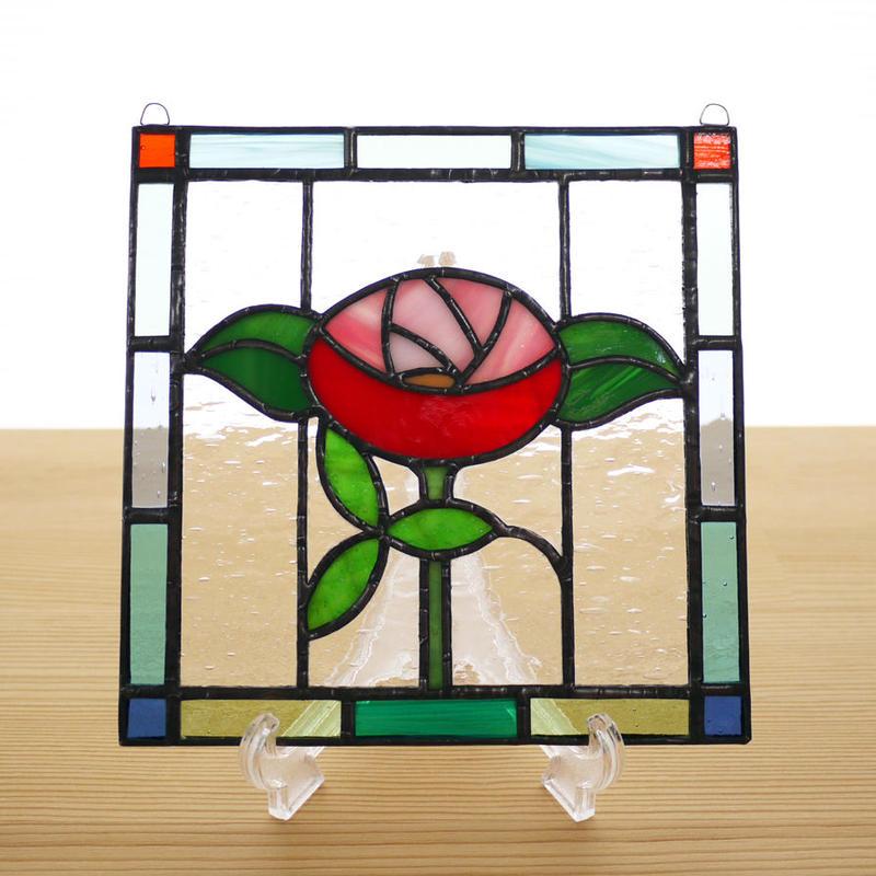 ステンドグラス ミニパネル バラ 15cm