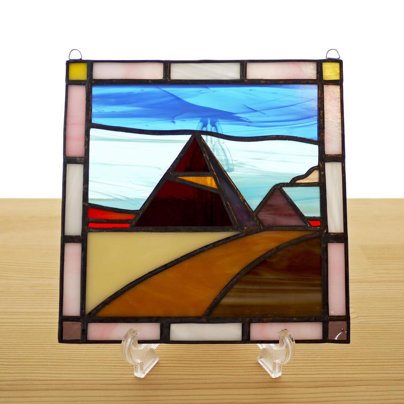 ステンドグラス ミニパネル ピラミッド 15cm