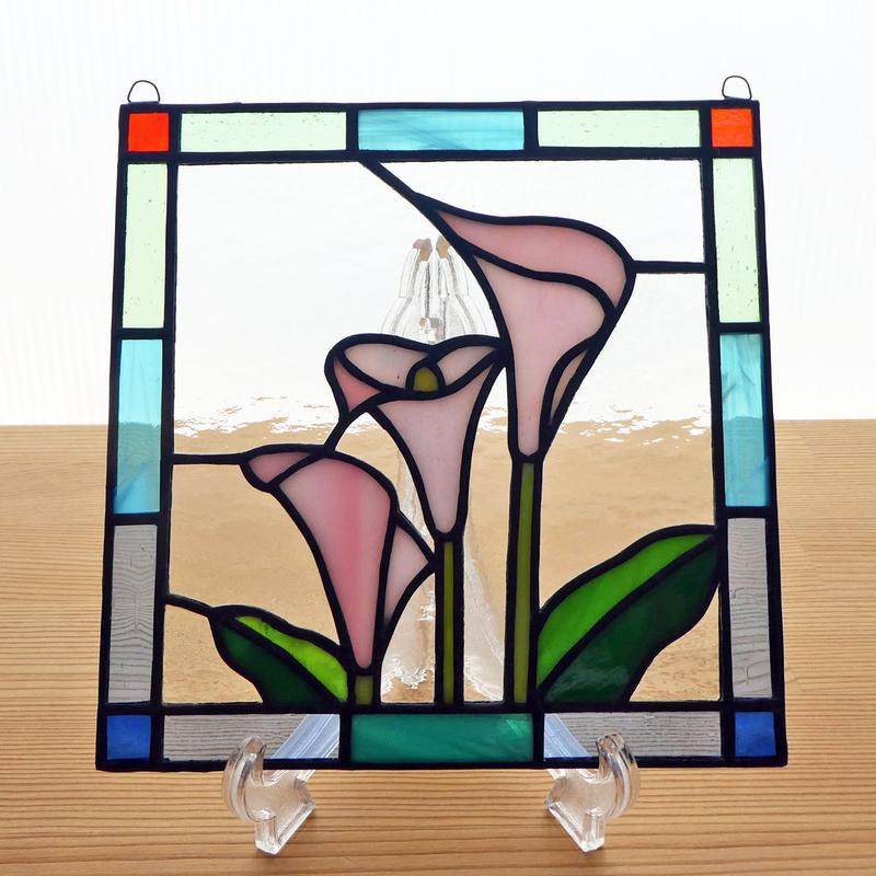 ステンドグラス ミニパネル カラー ピンク 15cm