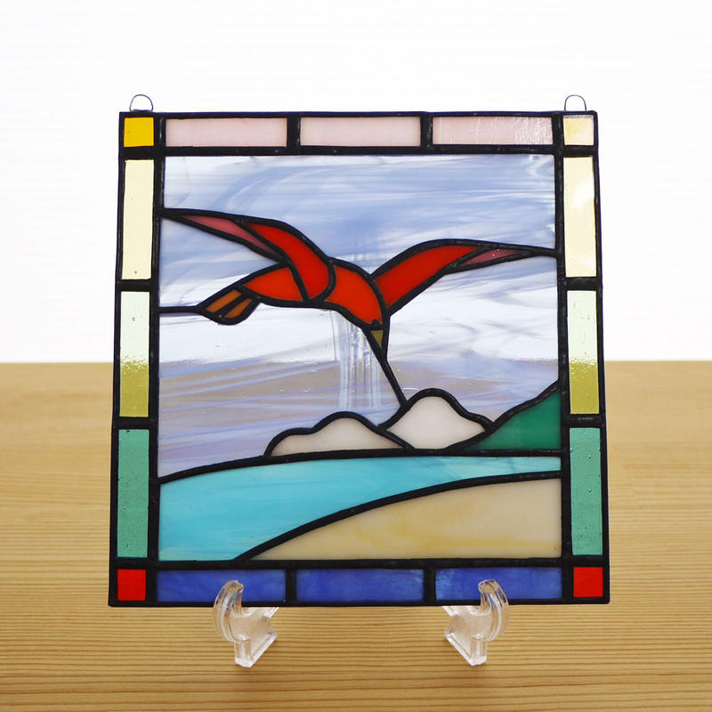 ステンドグラス ミニパネル 鳥 15cm