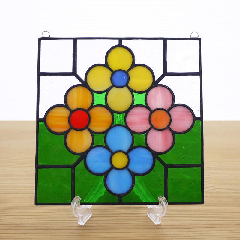 ステンドグラス ミニパネル 花壇・グリーン 15cm