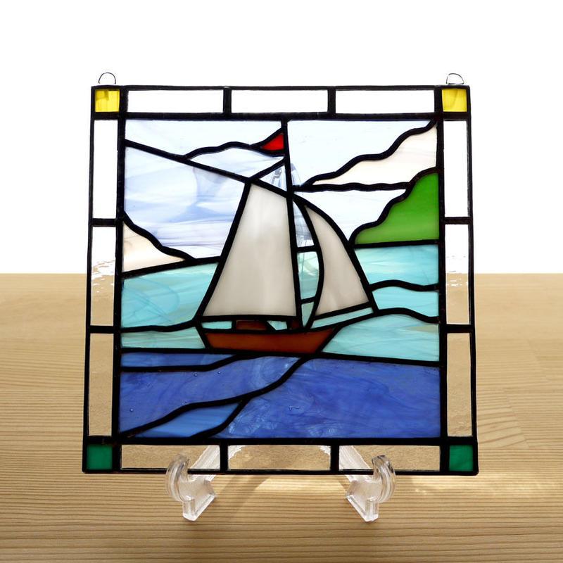 ステンドグラス ミニパネル ヨット 15cm