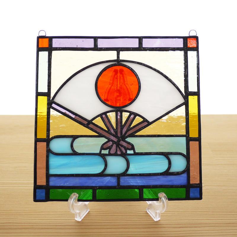 ステンドグラス ミニパネル 扇 15cm