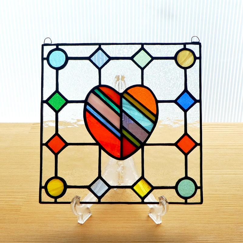 ステンドグラス ミニパネル ドットハート 15cm