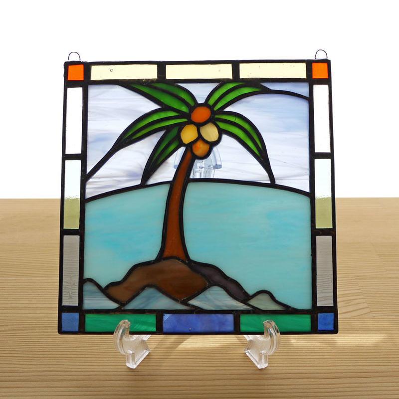 ステンドグラス ミニパネル ヤシの木 15cm