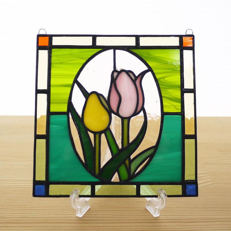 ステンドグラス ミニパネル チューリップ 15cm