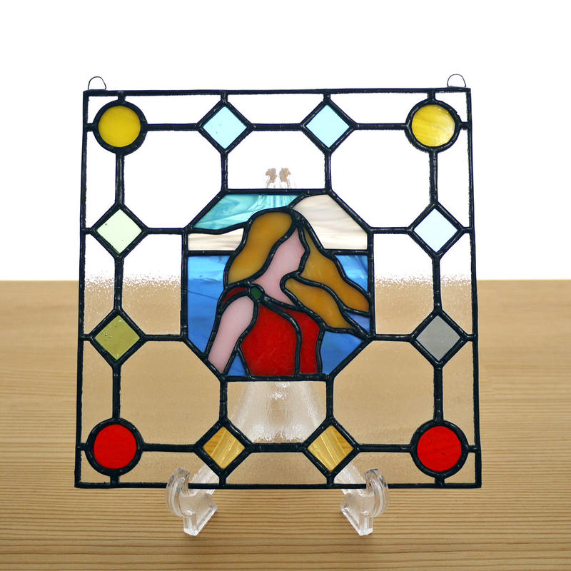ステンドグラス ミニパネル ポートレイト 海 15cm