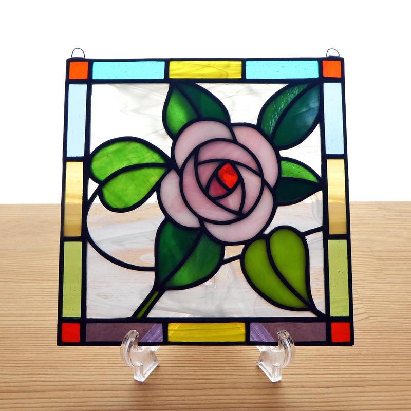 ステンドグラス ミニパネル 薔薇ローズ 15cm
