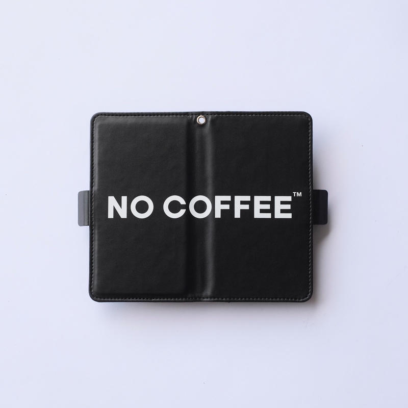 NO COFFEE 手帳型スマホケース BLACK