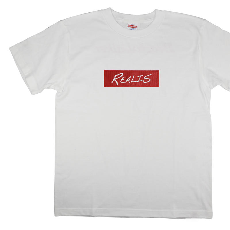 REALIS ロゴ刺繍Tシャツ ホワイト
