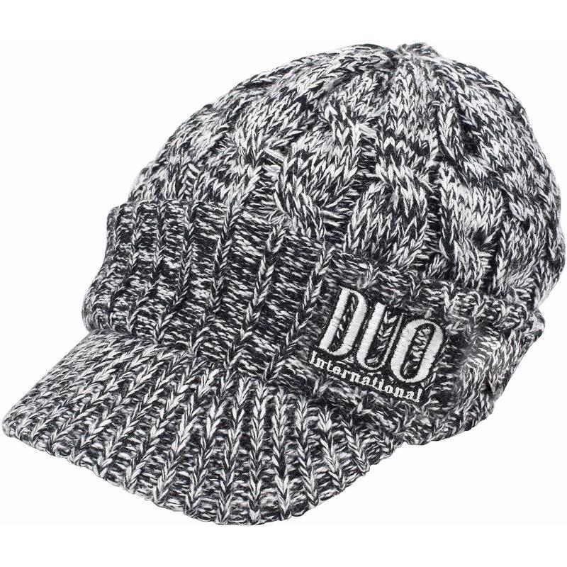 DUO刺繍ツバ付きニットキャップ ブラック/ホワイト