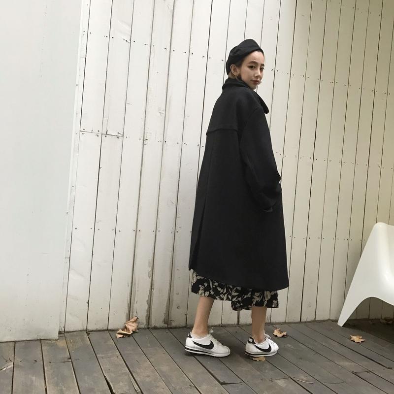 2wayオーバーコート/ブラック