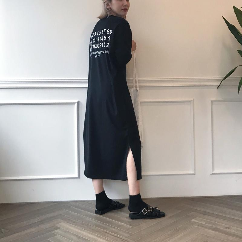 *予約販売*ナンバリングロングTシャツワンピース/ブラック