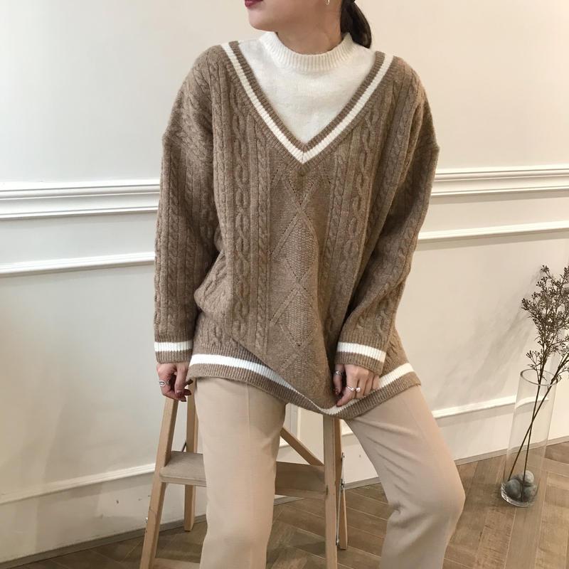 *予約販売*layered v knit/2colors