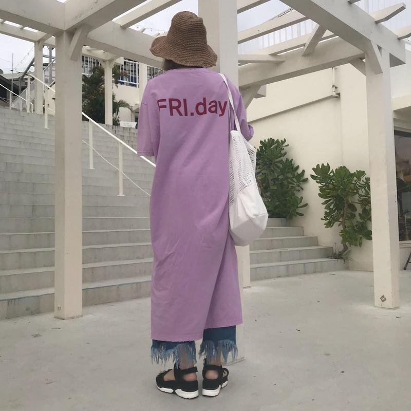 """*予約販売*""""FRI.day""""Tシャツワンピース/2colors"""