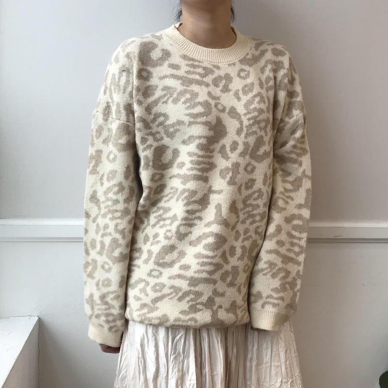 leopard knit/アイボリー