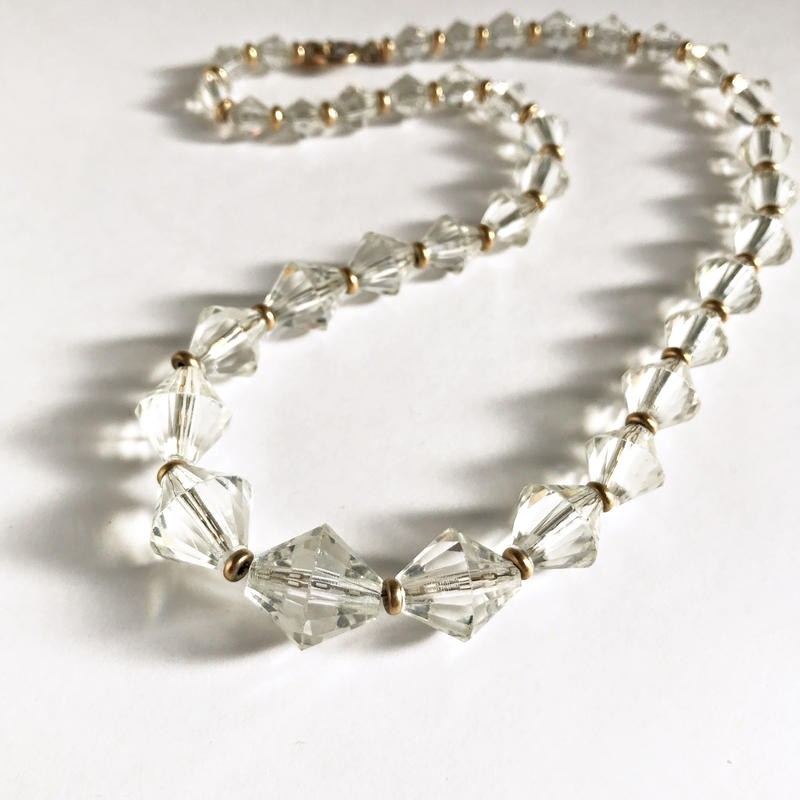 【R.F.SIMMONS/シモンズ】1920s ゴールドトーン ビーズ×クリアガラス グラデーション ネックレス/アンティーク