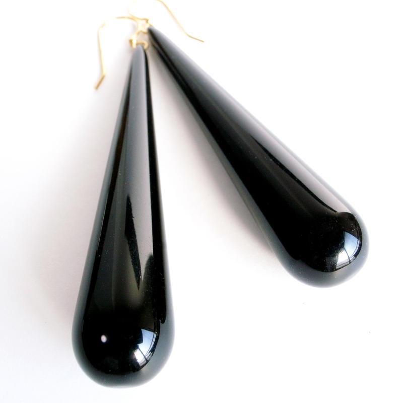 【Unsigned】ブラック プラスチック ティアドロップ ビッグ ピアス/ヴィンテージ
