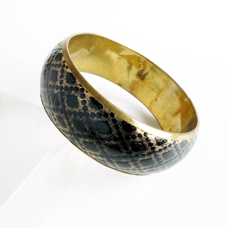 【Unsigned】ブラック×ゴールド ダイヤパターン インレイ ブラス バングル/ヴィンテージ