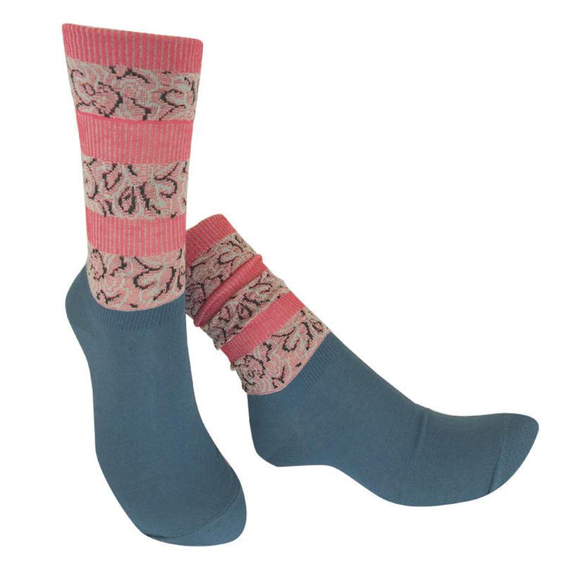 【nonnette】 Jacquard line  Socks      NS219Y- 79/ mole blue