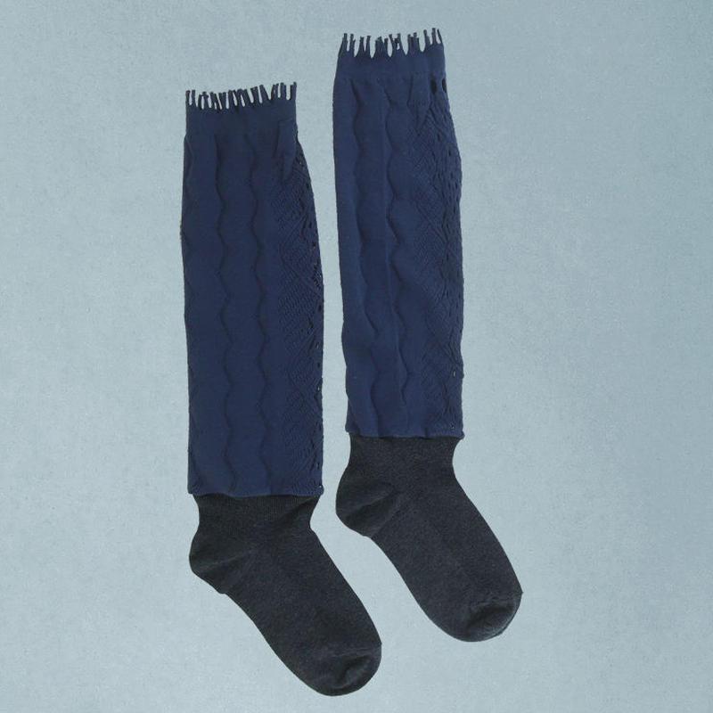 【nonnette】 Fabric combination High socks    NH027R- 88/ navy