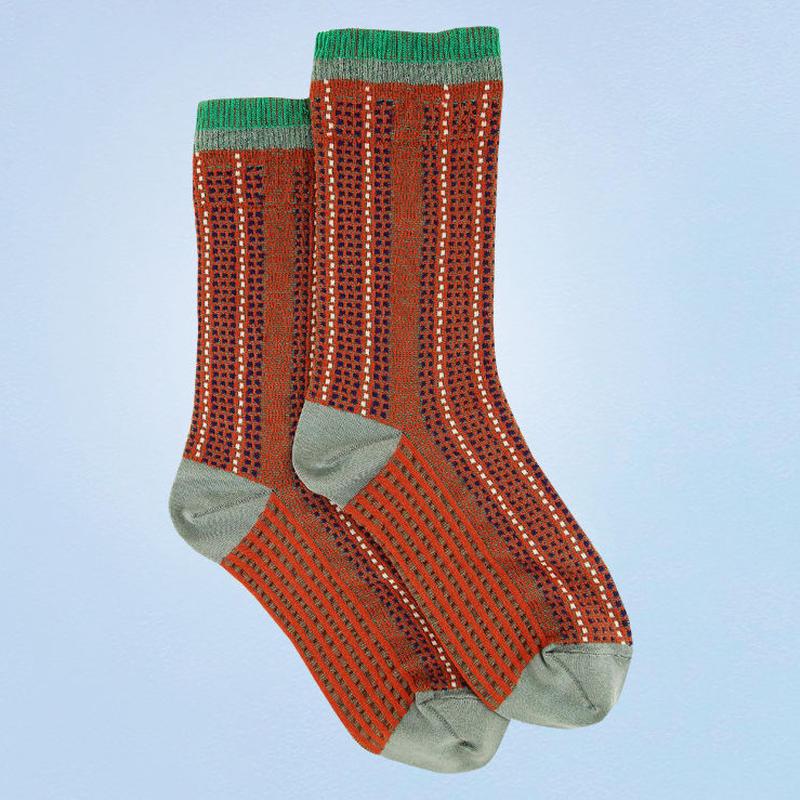 【nonnette】Stripe stitch  Socks NS209T- 4 color