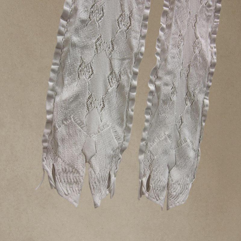 【nonnette】 Ribbon and fringe Leggings NL055R- 91/ light gray