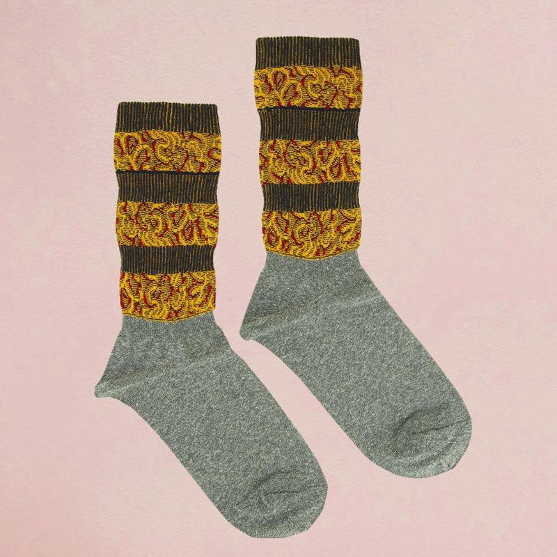 【nonnette】 Jacquard line  Socks      NS219Y- 90 / gray
