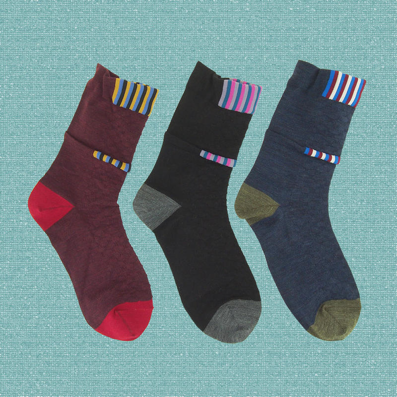 【nonnette】Front point wool  Socks NS212A- 3 color