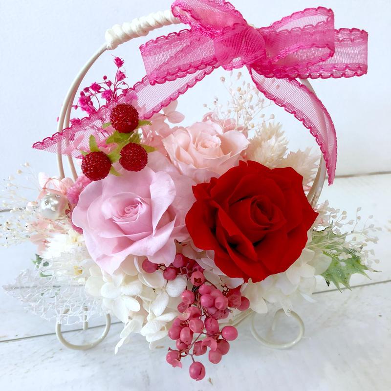 プリザーブドフラワー・赤のローズ   花かご   花ギフト