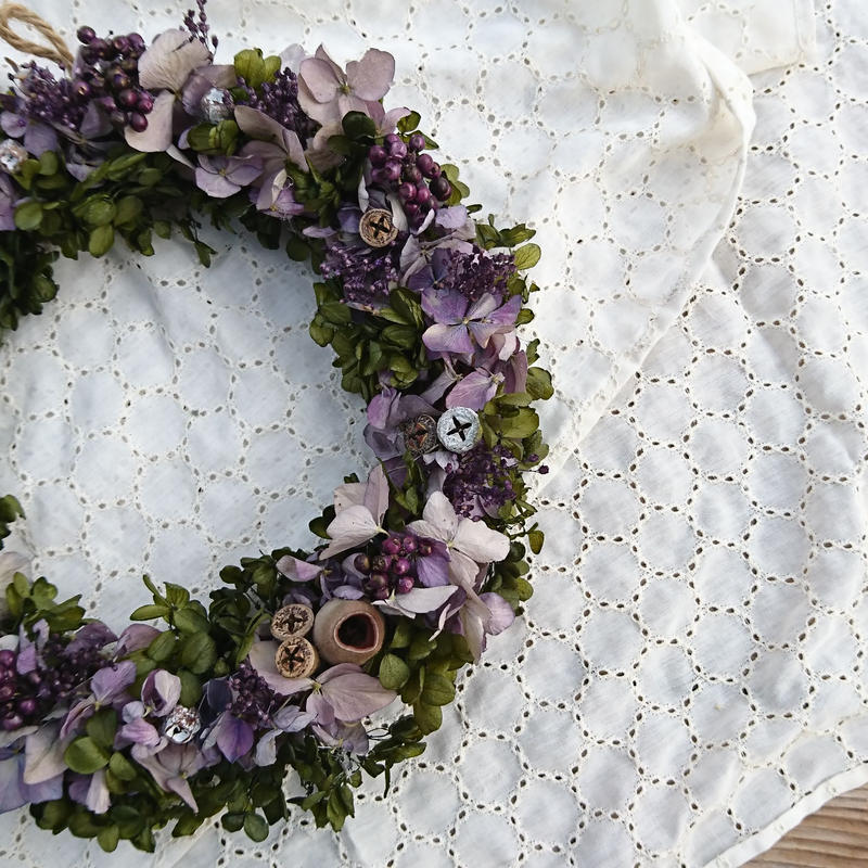 Purple natural wreath