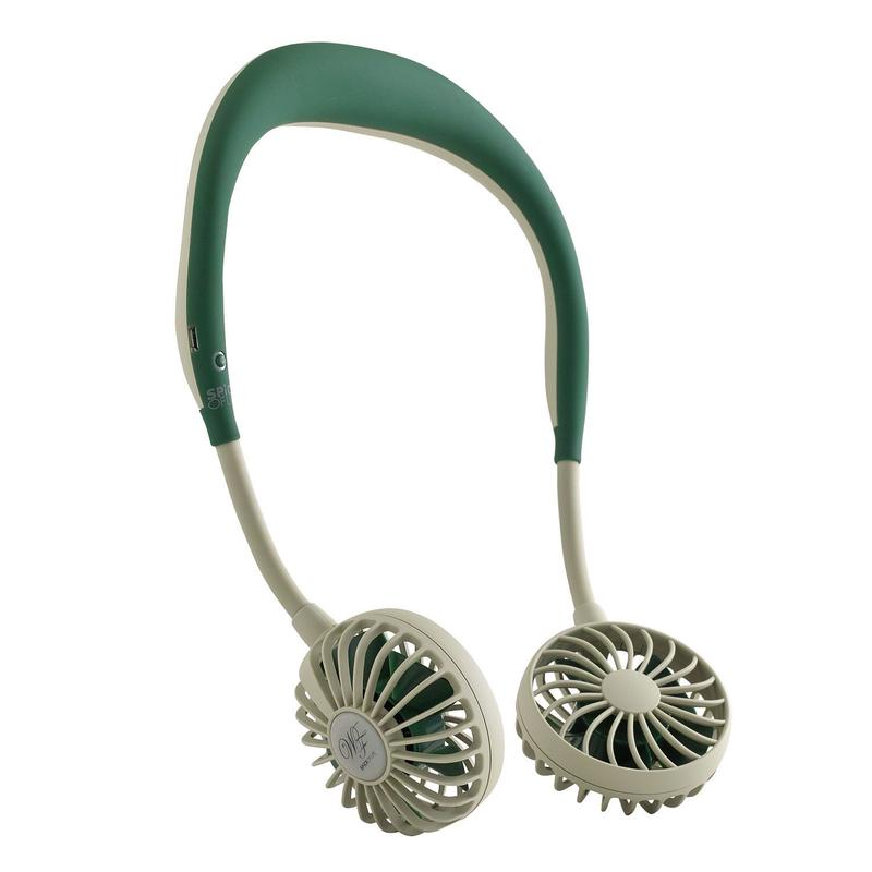 WFAN ハンズフリー ポータブル扇風機   カーキ(深緑)