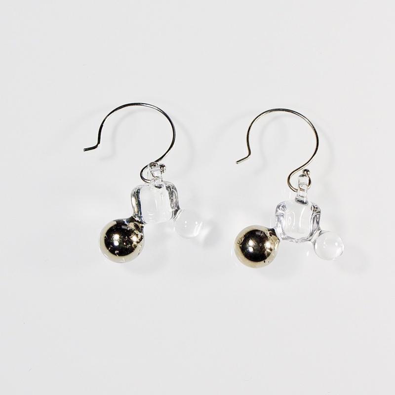 Ball Cube Earrings Platinum/ ボールキューブピアス