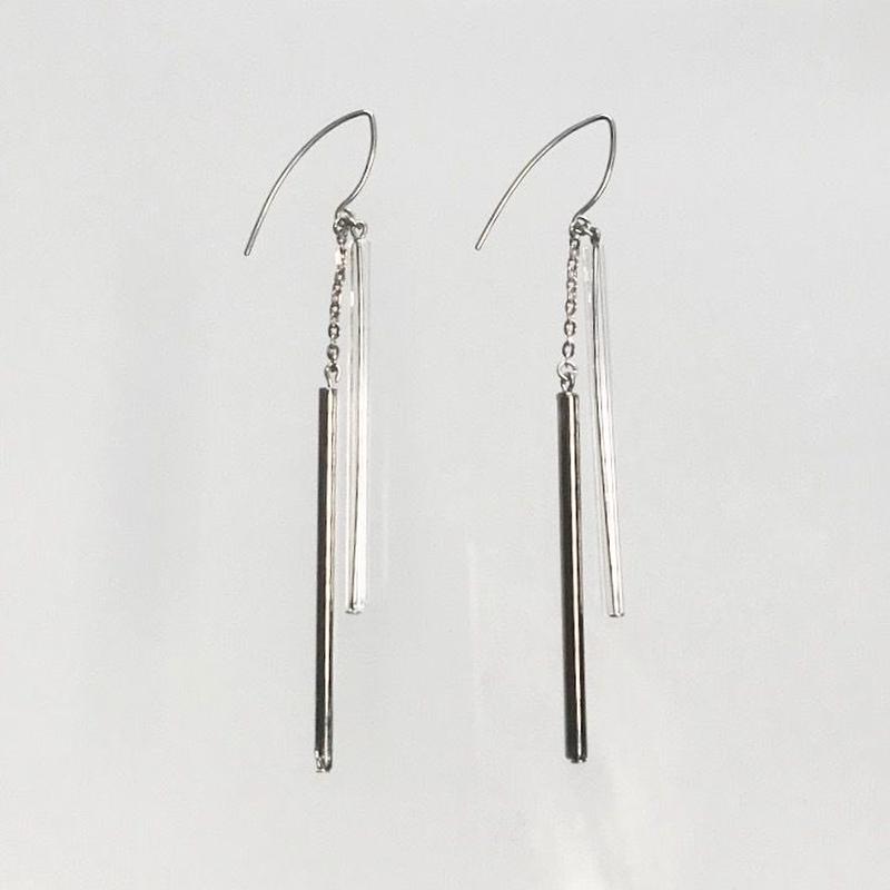 Double Tube Earrings  Platinum  / ダブルチューブピアス プラチナ