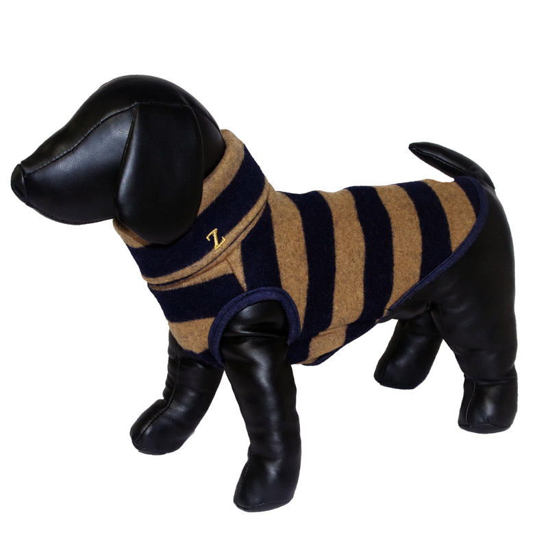 Stripe Wool Knit High Neck Tank Top Navy × Beige  < M ~ M/L >