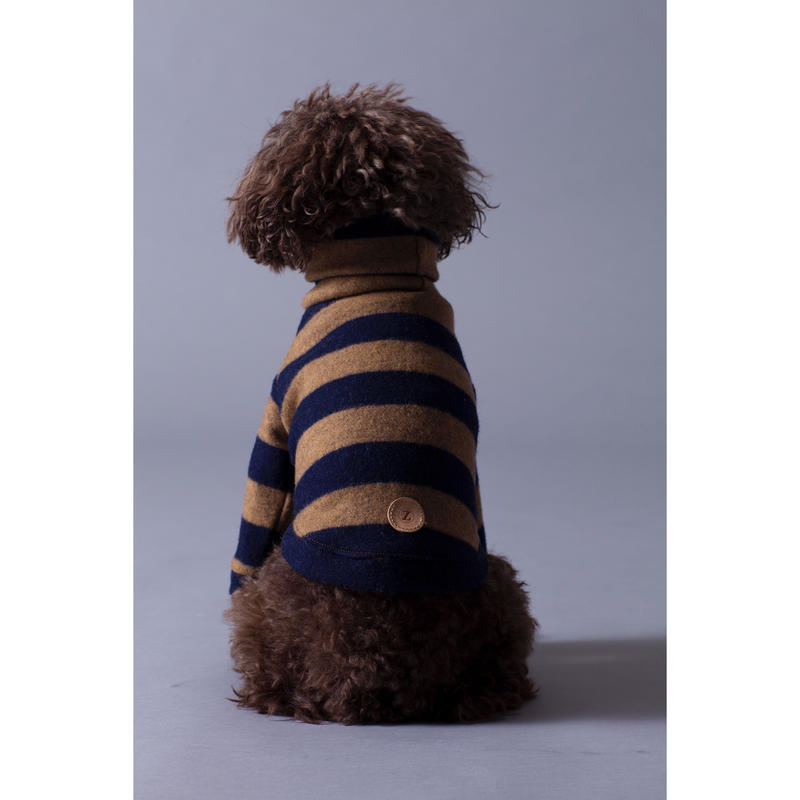Stripe Wool Knit High Neck Long Sleeve Navy × Beige < M ~ M/L >